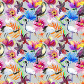 Tropical flowers, birds and leaves. — Stock Photo