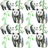 Bamboo leaves and panda bears — Zdjęcie stockowe