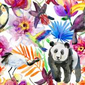 Flowers, panda and birds. — Stock Photo