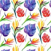 Flowers and leaves seamless pattern — Stock Photo