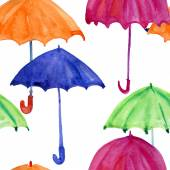 Seamless pattern with watercolor umbrellas — Stock Photo