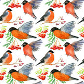 Watercolor seamless pattern with birds — Stok fotoğraf