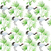 Seamless pattern with flowers and birds — Stock Photo
