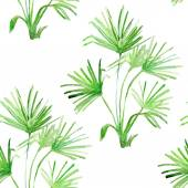 Watercolor floral pattern set with palm leaves — Stock Photo