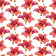 Watercolor red lilly flowers seamless pattern — Stock Photo #54357015