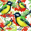 Red Rowan Berries Twig and Birds — Stok fotoğraf #54916245
