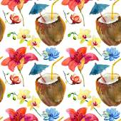 Pattern with coconut cocktail and tropical flowers — Stock Photo