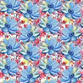 άνευ ραφής ταπετσαρία με άνθη το καλοκαίρι μπλε — Φωτογραφία Αρχείου