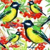 Red Rowan Berries Twig and Birds — Stock Photo