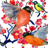 Watercolor seamless pattern with birds — Stock Photo
