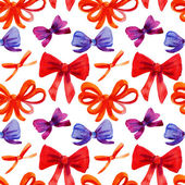 Seamless pattern with ribbons and bows — Stock Photo