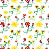 Watercolor cute flowers and suns — Стоковое фото