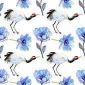 Azjatycki Żuraw ptak i niebieski kwiaty. — Zdjęcie stockowe