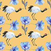 Asian crane bird and blue flowers. — Zdjęcie stockowe