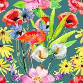 Floral background with flowers and flamingo — Stock Photo