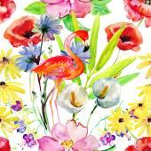 Flowers and flamingo background — Stock Photo