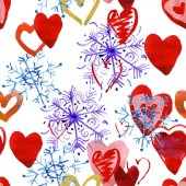 Watercolor snowflakes and hearts — Stock Photo