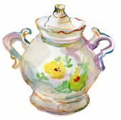 Porcelain sugar bowl. — Stock Photo