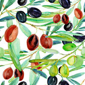 Bright watercolor olives — Stock Photo