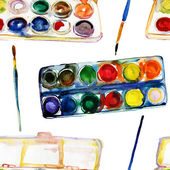 Paint-box and paint brush — Stock Photo