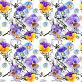 Ilustração de violeta flores de amor-perfeito — Fotografia Stock