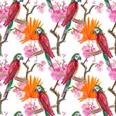 Romantic parrots and exotic flowers — Stock Photo
