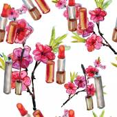Cosmetics and flowers background — Stock Photo