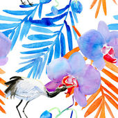 Crane and flowers background — Foto de Stock