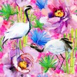 Crane birds, bamboo and flowers background — Stock Photo #65806017