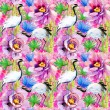 Crane birds, bamboo and flowers background — Stock Photo #65806019