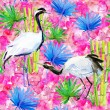Crane birds, bamboo and flowers background — Stock Photo #65806059