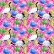 Crane birds, bamboo and flowers background — Stock Photo #65806075