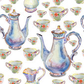 Teapot with tea cups. — Stock Photo