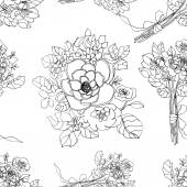 Seamless sketched floral background — Stock Photo