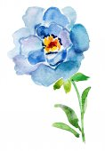 Blue watercolor rose — Stock Photo