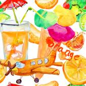 Seamless watercolor pattern with cocktails — ストック写真