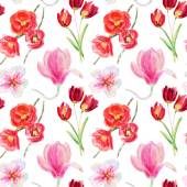 Seamless pattern of watercolor flowers — Stock Photo