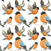 Seamless christmas pattern with birds. — Stock Photo