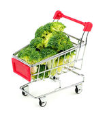 Broccoli florets in shopping cart — Stock Photo