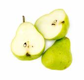 Pieces of organic Australia sliced green pear — Stock Photo