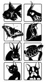 Hayvanların siluetleri ile simgeler — Stok Vektör