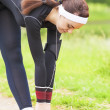 Fitness Concept: Caucasian Woman Stretching Body During Outdoor — Stock Photo #51920463