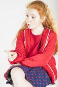 Pointing Little Red-haired Caucasain Girl with Surprised Express — Stock Photo