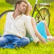 Portrait of Nice Caucasian Couple Relaxing Together Outdoors wit — 图库照片 #54027905