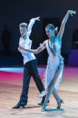 Minsk-Belarus, October 18, 2014: Unidentified Dance Couple Perfo — Stock Photo
