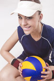 Portrait of Smiling Caucasian Professional Female Volleyball Pla — Stock Photo