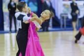 Minsk-Belarus, October 4,2014: Unidentified Dance couple perform — Stock Photo