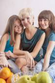 Smiling Caucasian Girls With Teeth Braces Indoors. — Foto de Stock