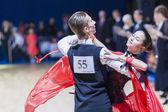 Oleshkevich Daniil and Bashlaminova Olga perform Juvenile-1 Standard European program — Stock Photo