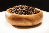 Authentic Wooden Bowl filled with Coffee Beans. On White Backgro — Stock Photo